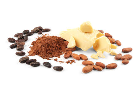 Cocoa butter, powder and beans on white background