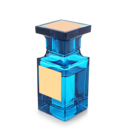 Bottle of modern male perfume on white background