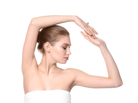 Beautiful young woman on white background. Epilation concept Standard-Bild