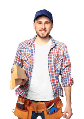 Handsome young carpenter on white background Banque d'images - 97791734