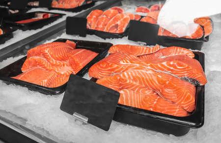 Fresh fish in supermarket Stock Photo