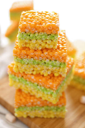 Cubes of delicious rice treats, closeup