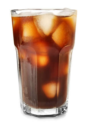 Glass with cold brew coffee on white background