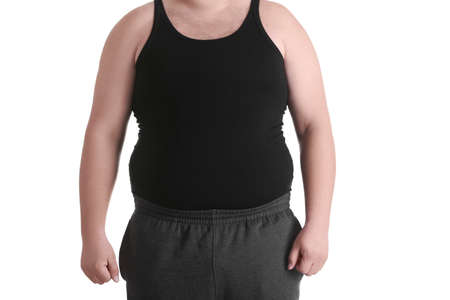 Fat man on white background. Weight loss concept Stock Photo