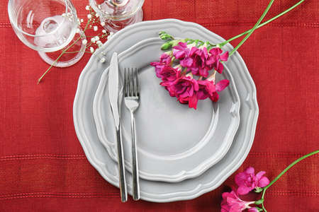 Beautiful festive table setting in cafe Stock Photo
