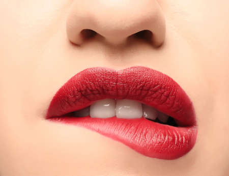 Lips of beautiful young woman, closeup Stock Photo