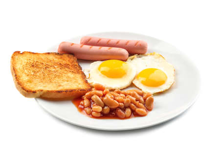 Tasty breakfast with fried eggs on white background