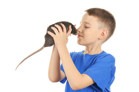 Cute boy with funny rat on white background Stock Photo