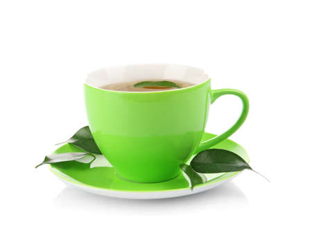 Weight loss concept. Cup of tea isolated on white Stock Photo