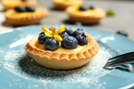 Delicious crispy tart with blueberries and custard cream on plate, closeup