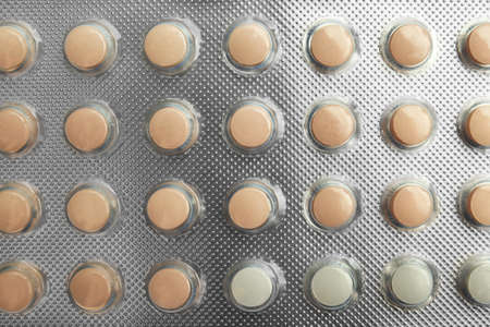 Strip of oral contraceptive pills, closeup