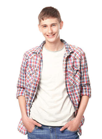 Happy smiling teenager in casual clothes on white background