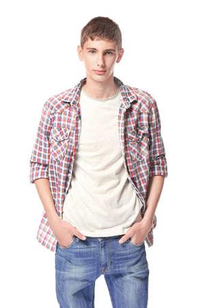 Nastolatek w ubranie na białym tle