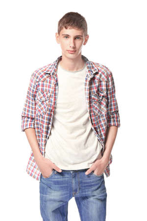 Teenager in casual clothes on white background