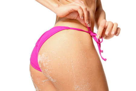 Beautiful young woman in bikini on white background, closeup Stock Photo