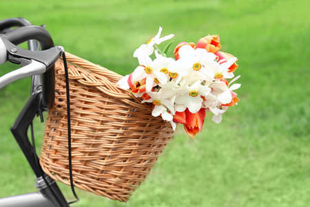 Bicycle with basket of beautiful flowers on blurred background