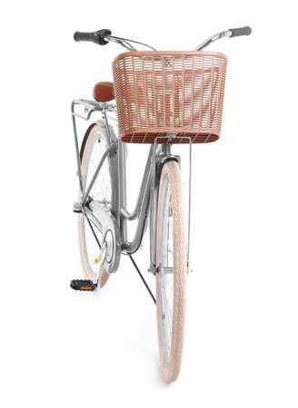 Bicycle with wicker basket on white background Stok Fotoğraf