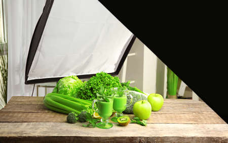 Photo studio with professional lighting equipment while shooting food