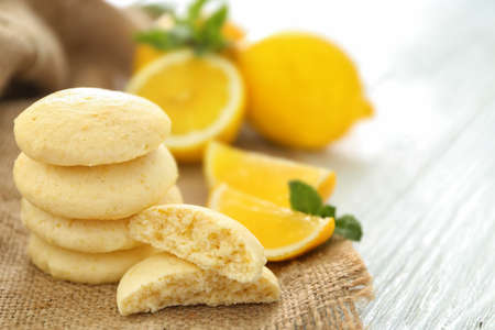 Homemade cookies with lemon flavor on sackcloth