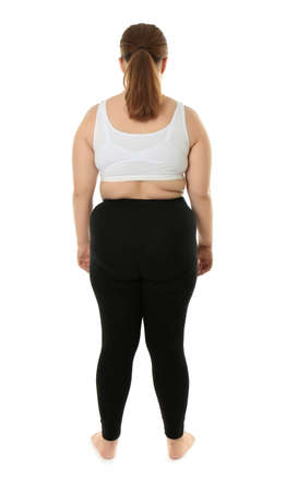 Back view of overweight woman on white background Stock Photo