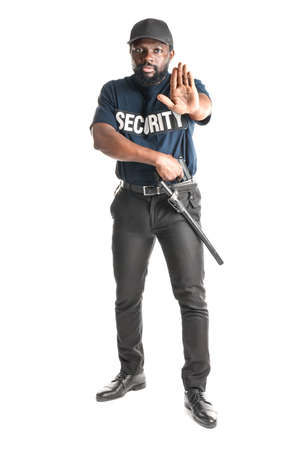 Male security guard showing stop gesture on white background
