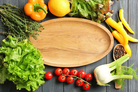 Wooden Board And Vegetables On Kitchen Table. Cooking Classes ...