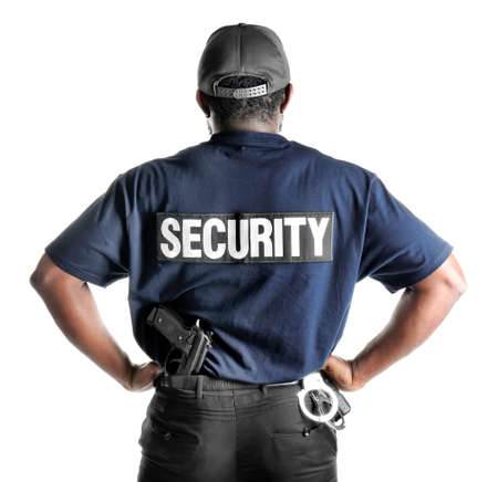 Male security guard on white background Stockfoto