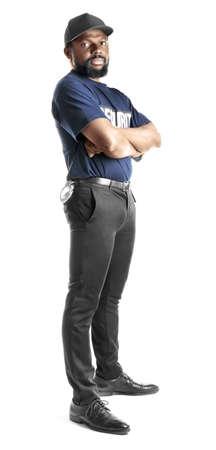 Male security guard on white background Фото со стока