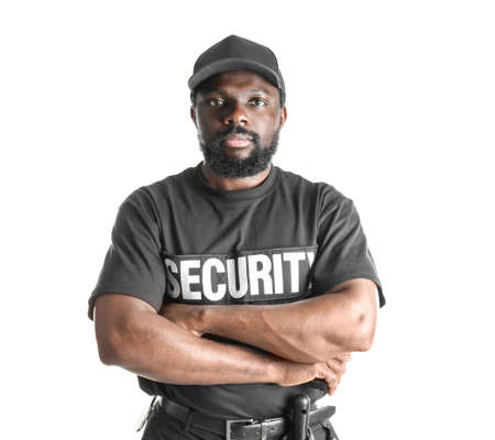 Male security guard on white background Banque d'images
