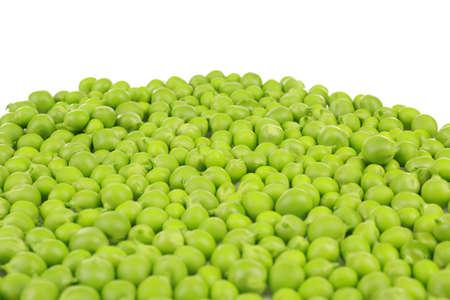 Pile of fresh green peas on white background, closeup