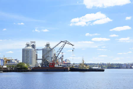View of modern sea port with  grain elevator Stock Photo