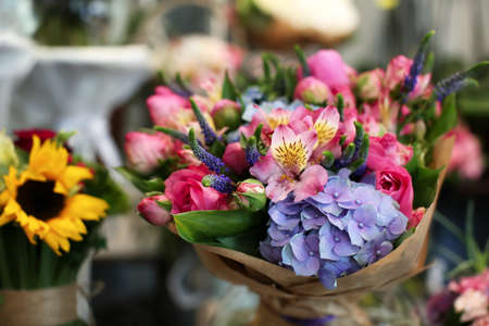 Colorful blooming bouquet of flowers in shop