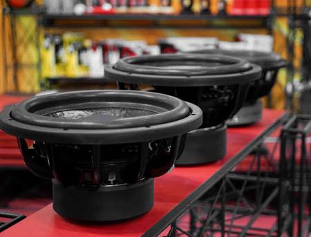 Car audio speakers presented in store