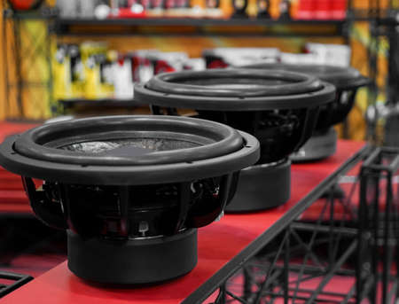 Car audio speakers presented in store Stock Photo