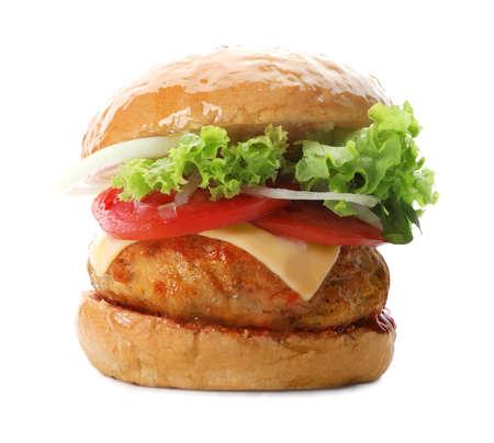 Tasty turkey burger on white background