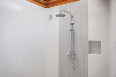 Shower in modern hotel bathroom