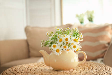 Beautiful chamomiles in small teapot on table Stock Photo