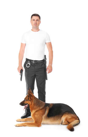 Security guard with dog on white background Stock Photo