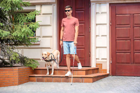 Guide dog helping young blind man outdoors Foto de archivo