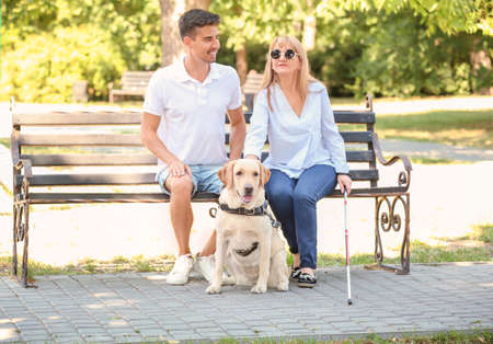 Young man and blind woman with guide dog sitting on bench in park