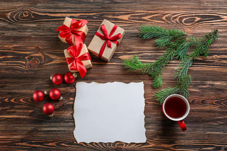 Composition with letter to Santa Claus on wooden table