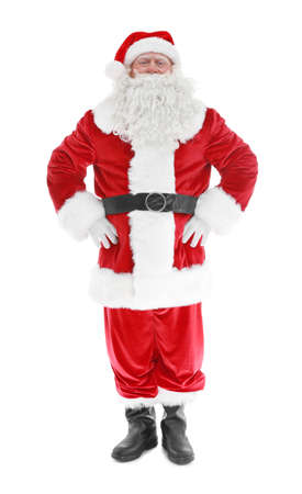 Authentic Santa Claus standing on white background