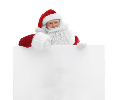 Authentic Santa Claus with poster on white background