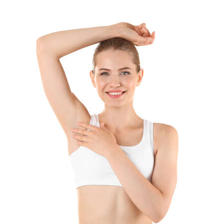Beautiful young woman on white background. Concept of using deodorant