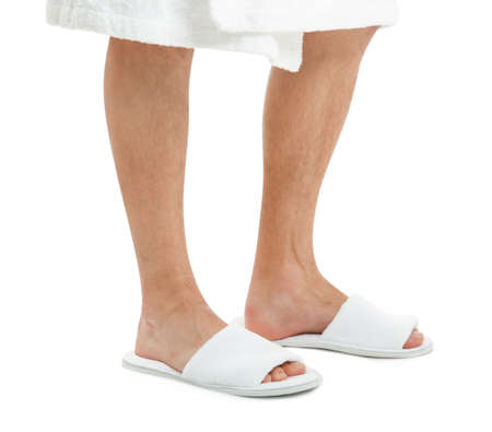 Man in bathing slippers on white background Stock Photo
