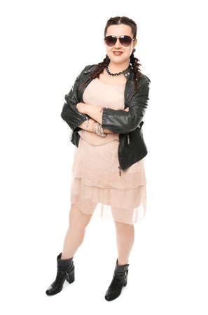 Beautiful stylish overweight woman on white background