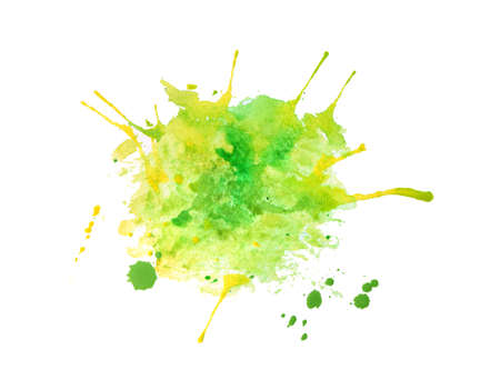 Green watercolor stain on white background Stock Photo