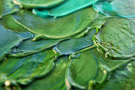 Green oil painting, close up