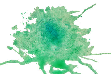Green watercolor stain on white background
