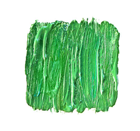 Green oily paint brushstrokes, isolated on white